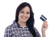Smiling young Indian woman with credit card