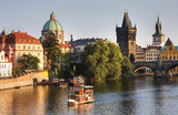 Charles Bridge and architecture of the old town in Prague, Czech