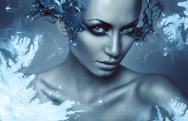 cold winter woman with splash on eyes