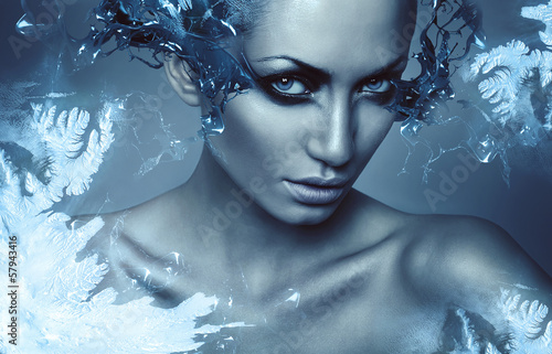 canvas print picture cold winter woman with splash on eyes