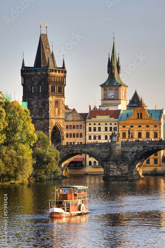 Fotobehang Praag Charles Bridge and architecture of the old town in Prague, Czech