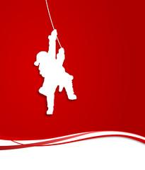 Weihnachtsmann hängt am Seil