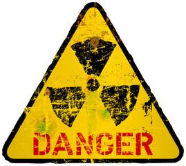radiation warning sign, grungy style