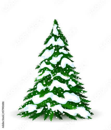 Christmas tree in winter, vector card for design