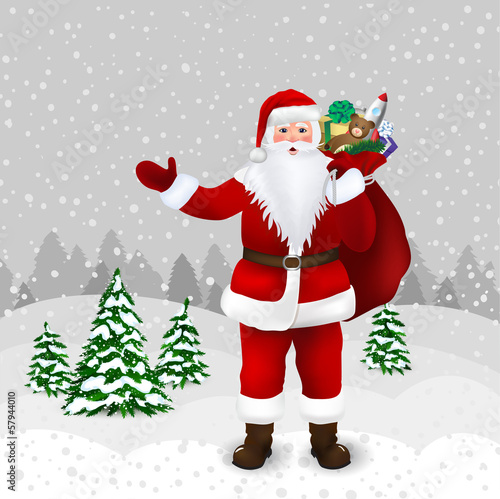 Santa Claus in winter forest in vector
