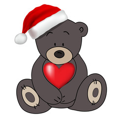 Bear in Santa Claus hat holding a heart, vector