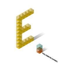 E - Pixel Isometric Alphabet