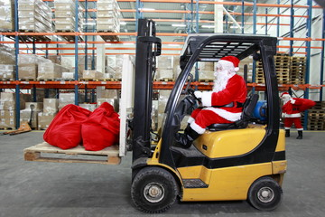 Rush hours in storehouse before Christmas time