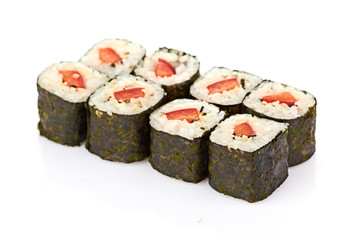sushi, rolls isolated on white