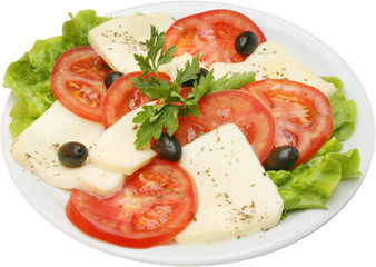 Fresh salad with tomatoes and yellow cheese
