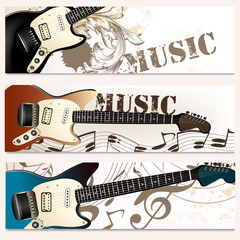 Brochure vector set on music theme with bass guitars
