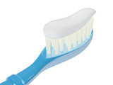 Isolated toothbrush with toothpaste, 3D
