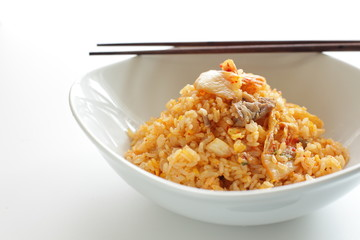 Korean food, kimchi and pork fried rice