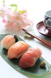 japanese food, assorted sushi with wasabi
