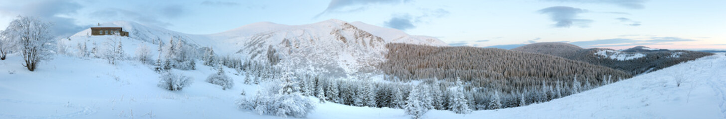 Morning predawn winter mountain panorama (Carpathian, Ukraine).