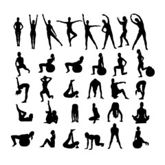 Fitness Women on white background.Vector.