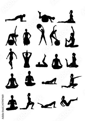 Silhouettes of women fintess.Vector.