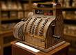 Old-time cash register in a shop. - 57947623