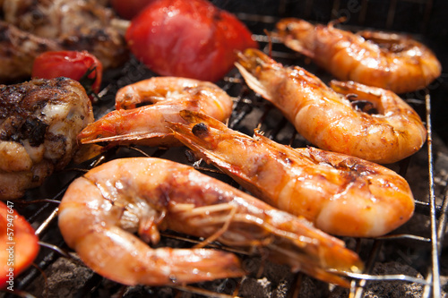 Grilled prawns on the barbecue rack at the garden party