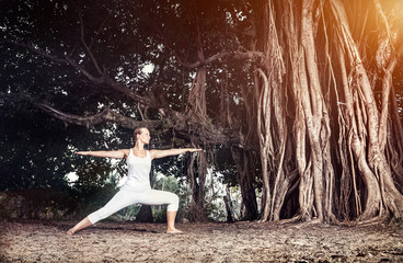 Yoga near banyan tree