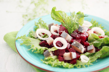 beetroot salad with herring