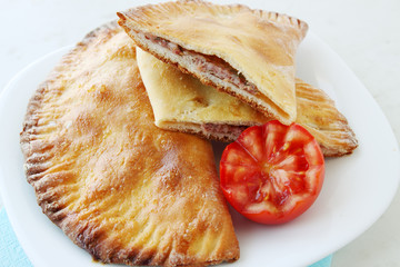 crispy cheburek with pork
