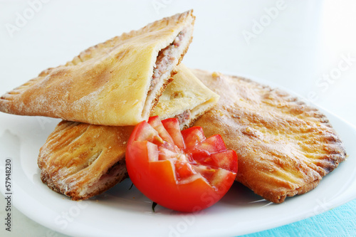 crispy cheburek with tomato