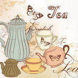 Hand drawn background with tea in vintage style