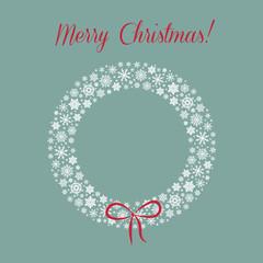 Vector christmas background wiht snowflake wreath