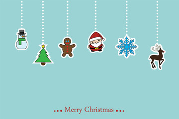 Vector christmas background wiht hanging ornaments