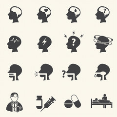 Brain and respiratory. Medical and Hospital icons.
