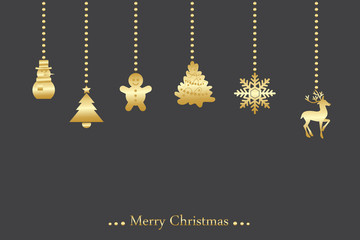 Vector christmas background wiht hanging ornaments in gold