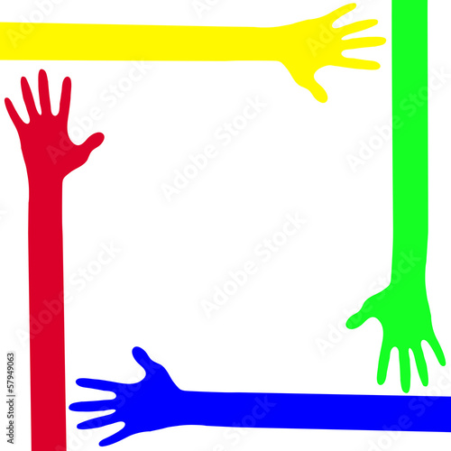 Colored hands in a frame