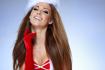 Santa girl on blue background