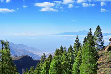 Tenerife Island and Mount Teide seen from the Llano del Roque Nu