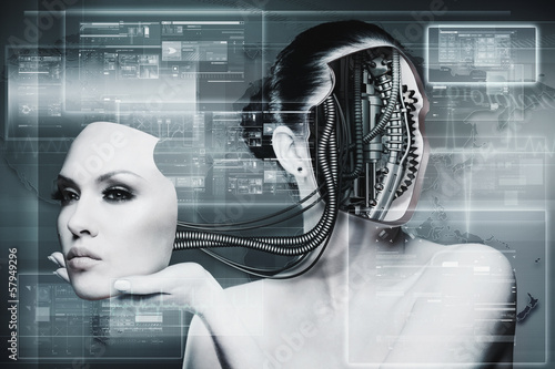 Biomechanical Woman, abstract futuristic backgrounds for your de