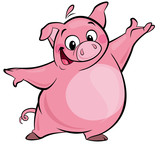 Cartoon happy cute pink pig character presenting
