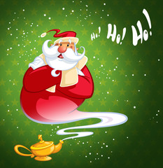 Happy laughing cartoon genie Santa Claus coming out of a magic o