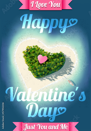 Happy Valentine's Day Tropical Island
