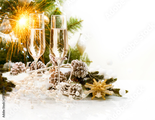 Christmas Scene. New Year Card Design with Champagne