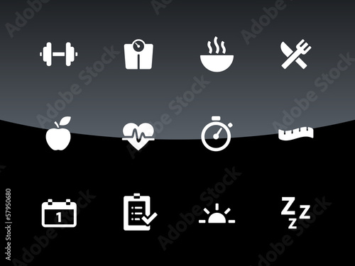 Fitness icons on black background.
