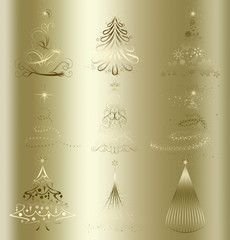 stylized Christmas tree on decorative floral gold background