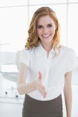 Elegant businesswoman offering a handshake