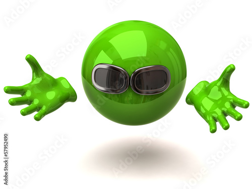 Green sphere with sunglasses and open arms