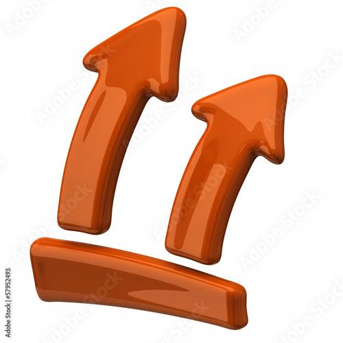 Orange arrows up on white background