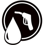 black icon with gun for fuel pump - gas station sign