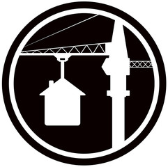 building symbol with construction crane and house silhouette