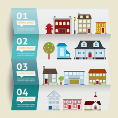 houses icons. vector illustration. Infographic