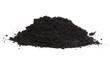 Pile of black garden top soil over white background - 57953207