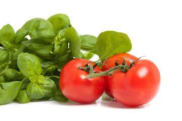Fresh tomatoes and basil